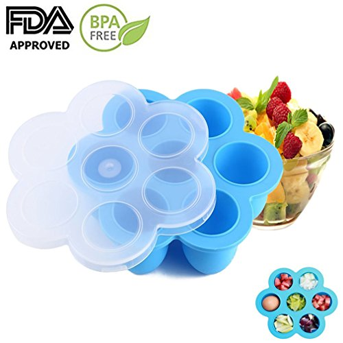 Egg Bites Molds Silicone Food Freezer Tray Reusable Storage Container for Instant Pot Accessories Round Cupcake pan Fits Instant Pot 5,6,8 qt Pressure Cooker-Blue
