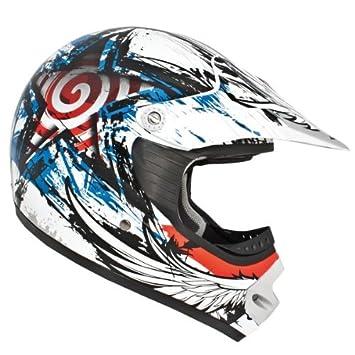 Akira 20303 Yao Casco Motocross/MX, Tamaño M, Blanco/Negro/Gris