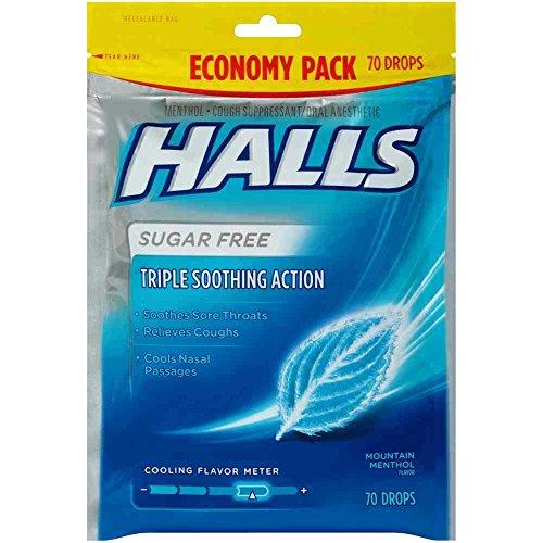 Halls Sugar Free Mountain Menthol Lyptus Cough Drops, 70 count per pack -- 12 per case.