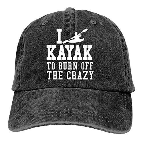 MOSDELU I Kayak to Burn Off The Crazy Baseball Cap Adjustable Denim Trucker Cap Jeans Caps for Adult Black (Kayak Hat)