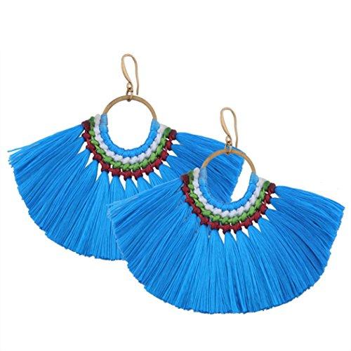 Misaky Women's Bohemian Earrings Tassel Fringe Dangle Earrings Gifts (Blue)