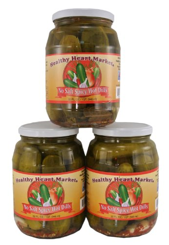 3 Pack Healthy Heart Market No Salt Spicy Hot Dill Pickles (Dill Pickles Spicy)