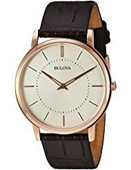Bulova Mens Quartz Stainless Steel and Leather Casual Watch, Color:Brown (Model: 97A126)
