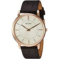 Bulova Men's Quartz Stainless Steel and Leather Casual Watch, Color:Brown (Model: 97A126)