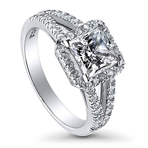 BERRICLE Rhodium Plated Sterling Silver Princess Cut Cubic Zirconia CZ Halo Promise Engagement Split Shank Ring 2.07 CTW Size 5 (Wedding Band To Match Split Shank Engagement Ring)