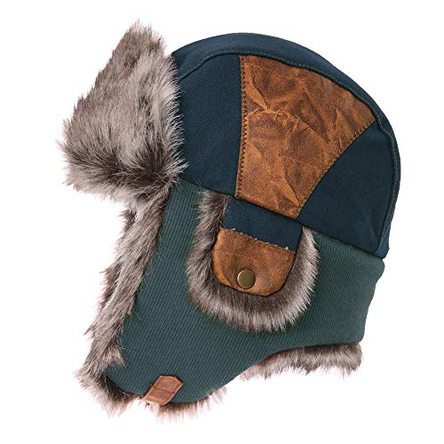 Mens Womens Patchwork Faux Fur Hunting Mad Bomber Trapper Flaps Winter Cap Ushanka Russian Hat -