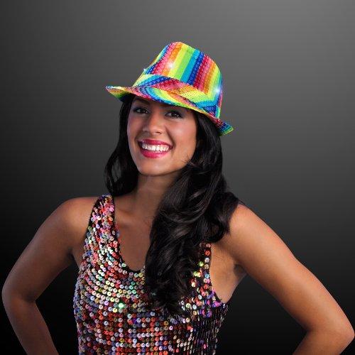 FlashingBlinkyLights Multicolored Rainbow Sequin Light Up LED Fedora Hat