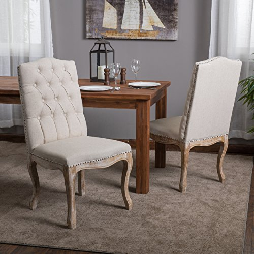 - Christopher Knight Home 214308 Jolie Beige Linen Dining Chair (Set of 2)