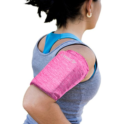 Phone Armband Sleeve: Best Running Sports PINK Arm Band Strap Holder Pouch Case for Exercise Workout Fits iPhone SE 6 6S 7 8 X Plus Android Samsung Galaxy S5 S6 S7 S8 S9 for Women, Girls & Men (Large) by E Tronic Edge