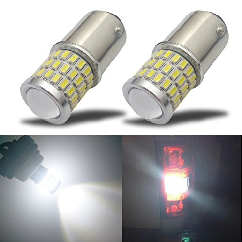 iBrightstar Newest 9-30V Super Bright Low Power 1157 2057 2357 7528 BAY15D LED Bulbs with Projector Replacement for Back Up Reverse Lights or Tail Brake Lights,Xenon White(6500K) Xenon Cobra Design