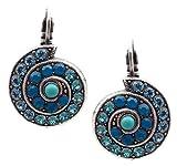Mariana Zambezi Swarovski Crystal Silvertone Earrings Aqua & Teal Shell Conch 1082