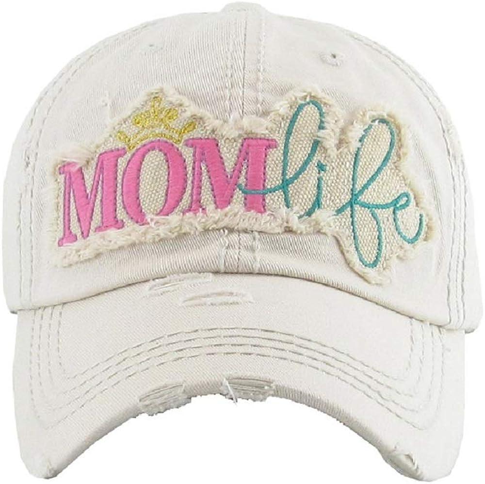 KB JP Adjustable Mom Life Princess Crown Vintage Distressed Womens Ladies Hat Cap