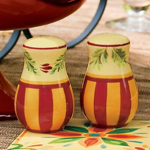 Southern Living at Home Gail Pittman Collection Sienna Hand-Painted Ceramic Salt and Pepper Shakers by Southern Living at Home