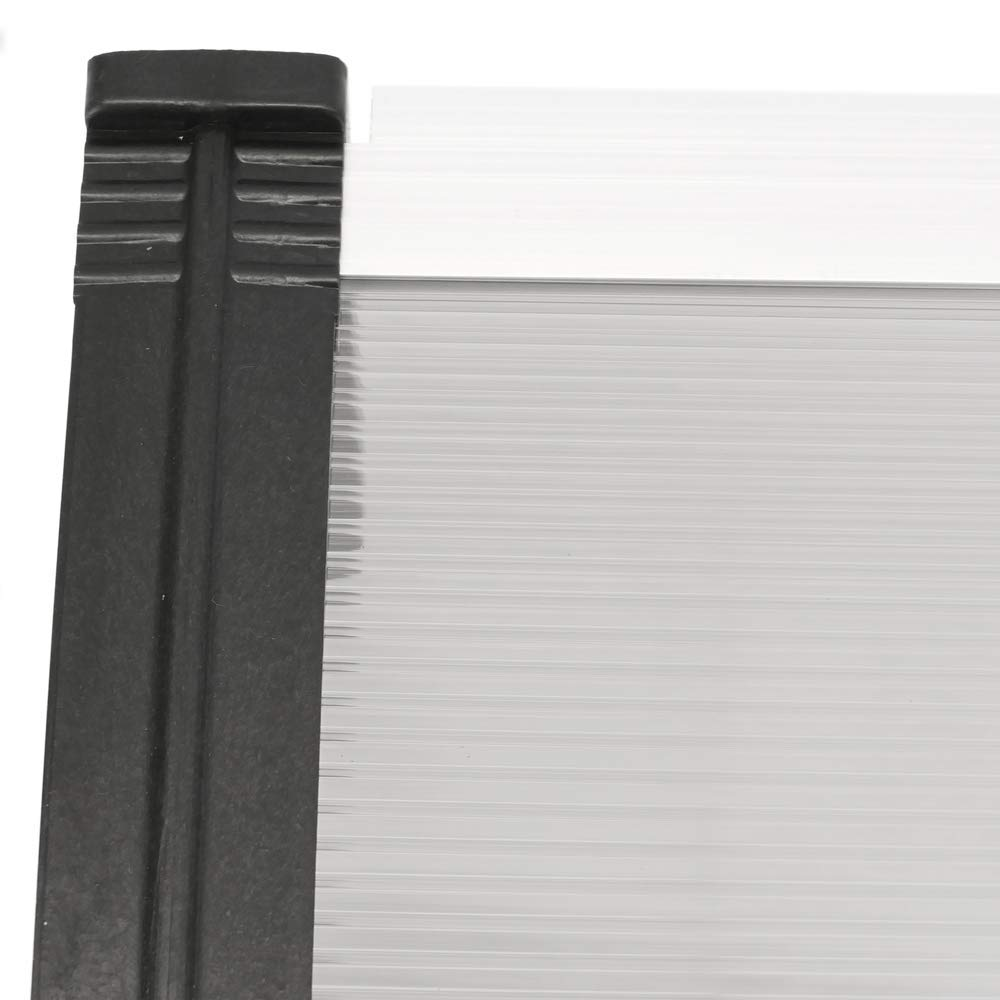Tejadillo de protecci/ón 200x80 cm Gris Oscuro PrimeMatik Marquesina para Puertas y Ventanas con Soporte Negro