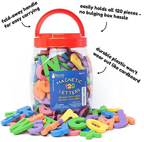 Roscoe-Learning-120-Magnetic-Letters-Premium-Foam-ABC-Magnets-in-Storage-Container-with-Handle