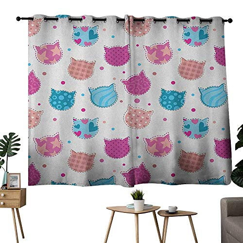 NUOMANAN Window Curtains Teen Girls,Cat Heads Silhouettes with Stars Dots and Stripes Checked Patterns Patchwork, Fuchsia Blue,Blackout Draperies for Bedroom Living Room 42