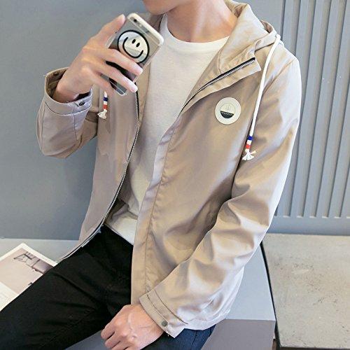 La caída de la versión coreana de casual hombres chaqueta Chaqueta chaqueta casual con tapón tipo Sau moda, un par de caqui ,XXL