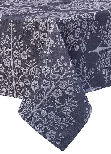 Mahogany Tree of Life Rectangle Jacquard Tablecloth, 60 by 120-Inch, Black