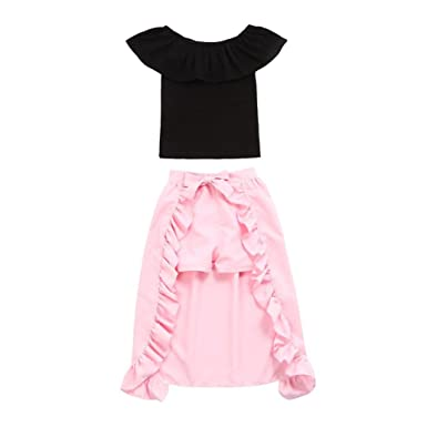 34fc75893 Toddler Baby Girls Solid Off-Shoulder Ruffles Tops+Dress +Shorts Clothing  Outfits (