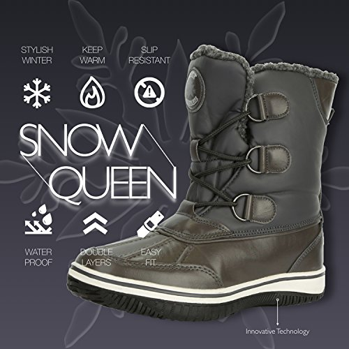 Calf Boots Water Resistant Artic Fur Warm Women's Ankle Gray Snow High Mid Eskimo DailyShoes wCxIAqw7