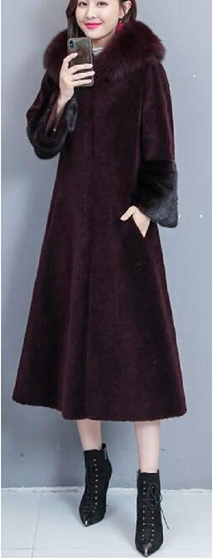 Fensajomon Womens Faux Fur Hooded Long Winter Overcoat Faux Fur Jacket Coat Outerwear Wine Red