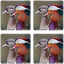 MSD Square Coasters Non-Slip Natural Rubber Desk Coasters design 35556979 Head of Beautiful Mandarin Duck Aix galericulata