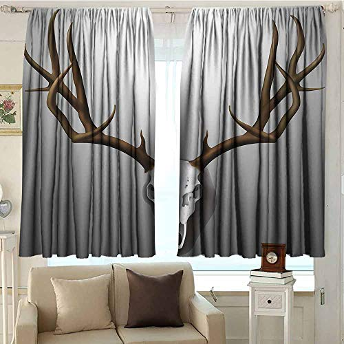 (DuckBaby Antler Decor Thermal Curtains Realistic Deer Skull with Large Horns Elk Skeleton on Abstract Backdrop for Living, Dining, Bedroom (Pair) W72 xL72 Brown White Grey)