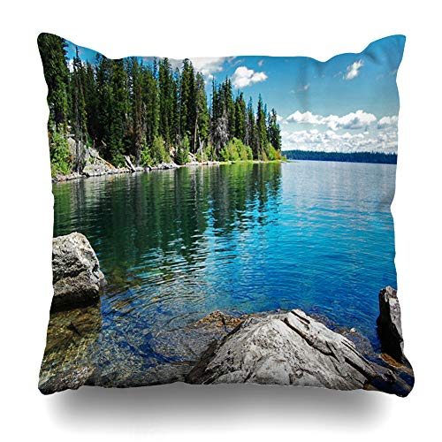 (Ahawoso Throw Pillow Cover Harbor Blue Tahoe Gran Teton Lake California Nature Colorado Forest Panoramic Mountain Design Beach Decorative Pillowcase Square 16x16 Home Decor Zippered Cushion Case)