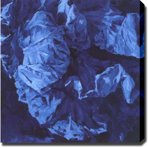 "UPC 825770005143, Blue Flower Paper Abstract Oil on Canvas Art 30"" X 30"" X 1.5"""