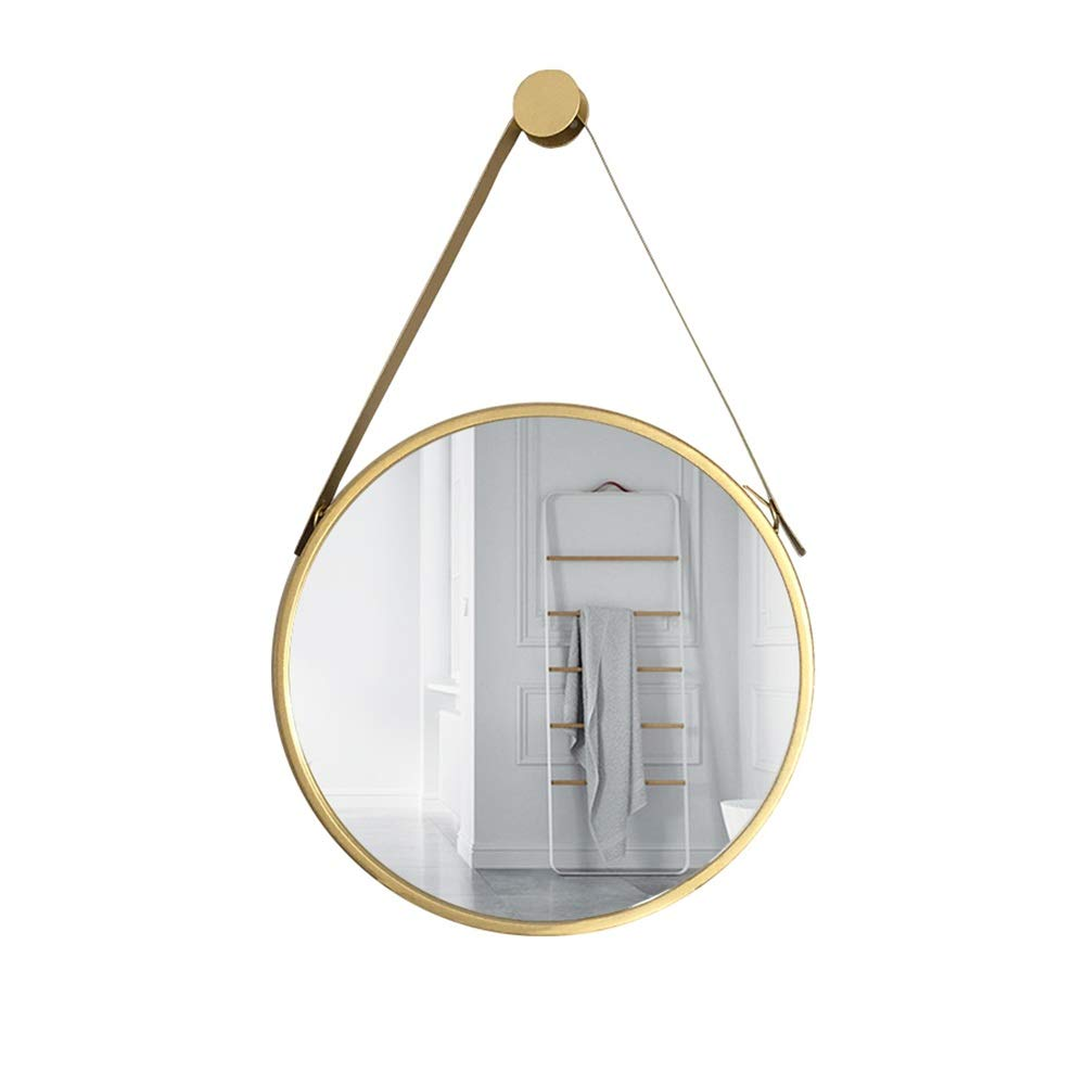 Mirror CAICOLOR Nordic Bathroom Wrought Iron Dressing Makeup Round Fittings Creative (Size : 40cm)