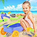 Garden Wagon & Tools Toy Set for Kids - Includes 8 Gardening Tools, 4 Pots, Water Pail and Spray - Great Beach and Sand Toys