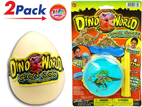 JA-RU Hatching Egg & Dino World Blow Slime Dinosaur Ooze (2 Pack) Item #1735-1745