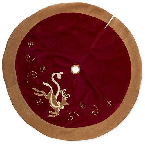 Tone Reindeer Gold (48 inch Red Velvet and Reindeer Applique with Gold Tone Trip Christmas Tree Skirt)