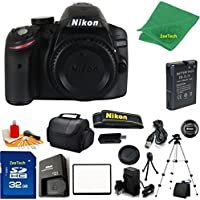 Nikon D3200 DSLR Camera Body + 32 GB Memory Card + Case + Reader + Full Size Tripod + 6PC Starter set + Microfiber Cloth + Extra Charger - International Model