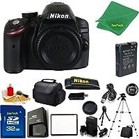 Nikon D3200 DSLR Camera Body + 32 GB Memory Card + Case + Reader + Full Size Tripod + 6PC Starter set + Microfiber Cloth + Extra Charger - International Model