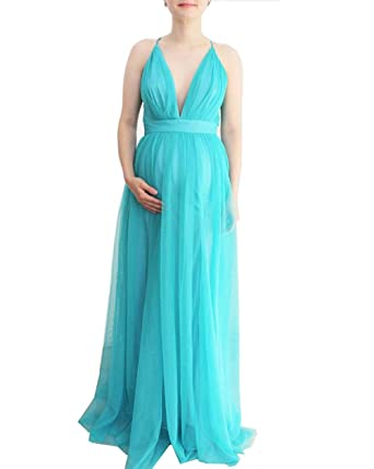 e1acab87de7 Image Unavailable. Image not available for. Color  Cross Spaghetti Strap  Backless Maternity Evening Gowns Beach Dress