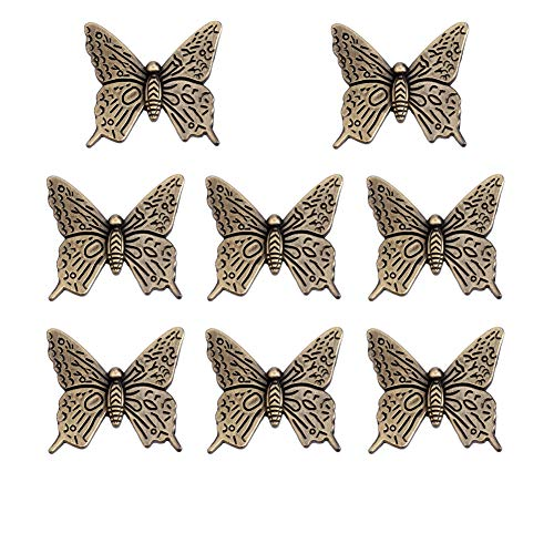 Welldoit Antique Butterfly Shape Acrylic Crystal Drawer Knob Pull Handle Pack of 10 - Knobs Butterfly Dresser