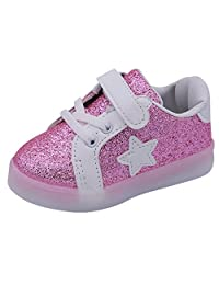 Happy Cherry Toddler LED Light Shoes Kids First Walking Shoes Baby Star Lighting Sneakers