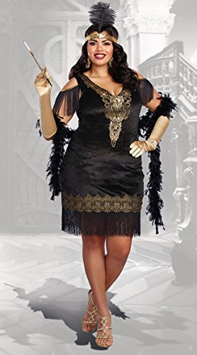 Dreamgirl Women's Swanky Flapper Plus Size, Black/Gold 3X ()