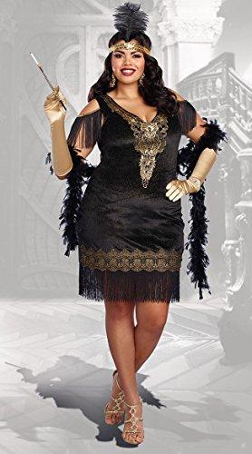 Dreamgirl Women's Plus Size Swanky Flapper, Black/Gold, 3X