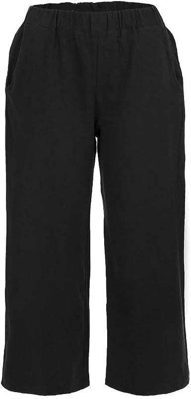Womens Cotton Linen High Elastic Waist Summer Pants Loose Black S M L XL