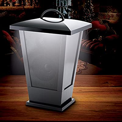 Fine Life Audio Products Wireless Indoor Outdoor Speaker Lantern with LED Lights Bluetooth (Black)