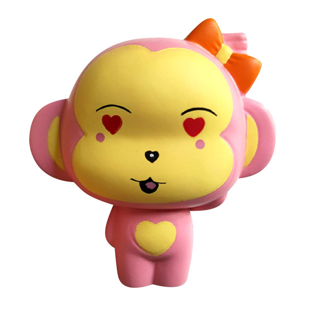 Monkey Squishy Toys Jumbo Scented Charm Squeeze Toys Stress Relief Animal Toys Slow Rising Kawaii Sensory Fidget Hand Toy for Kids Adults (Pink) by Codiak-Entertainment (Image #1)