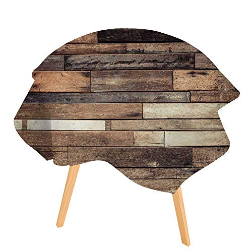 PINAFORE Round Tablecloths and Ground Wooden Rustic Floor Planks Grungy Look Farmhouse Country Style Walnut Oak Grain Waterproof Oilproof Hotproof Table Cloth Table Multiple Styles 55