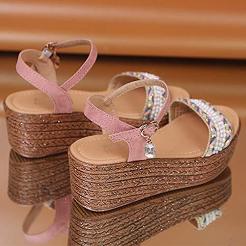 Sandales Plateforme Chaussures Cristal Ouvert Compensés La À Bout Mode Rose Talons Sunnywill Féminine Et En Compensé Hauts d1qWOTdnZ