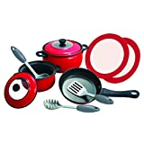 PlayGo Metal Cookware Colored Tin (10 Piece) Red