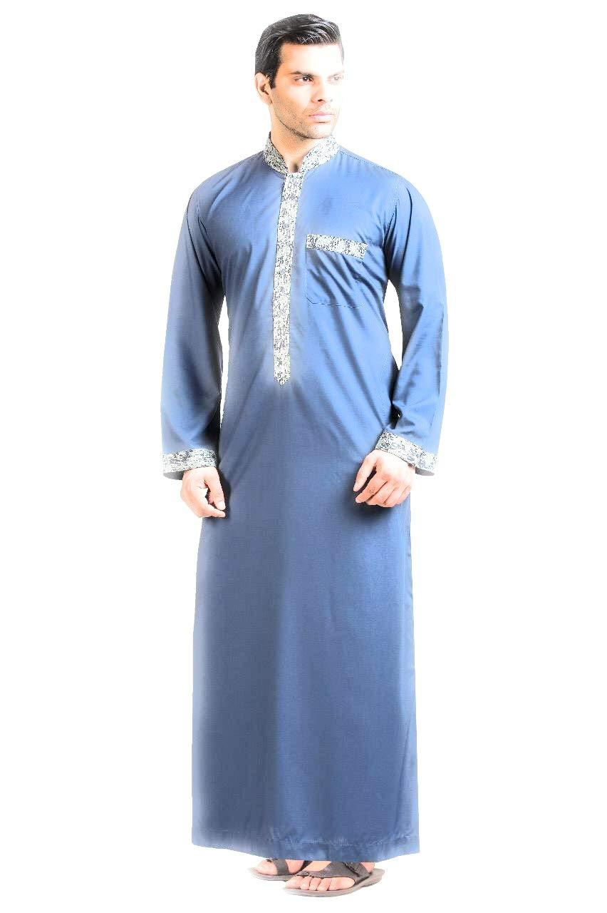 Raees Mens Thobe/Kaftan by Kamani-Islamic Clothing Jubba for Men, Kids, Boys-Light Cotton Formal Deshdasha-Modern Blue Collar Dress Thobes/Thawb-Prime Muslim Robe w/Long Sleeve-Arab Sheik Kaftans 58
