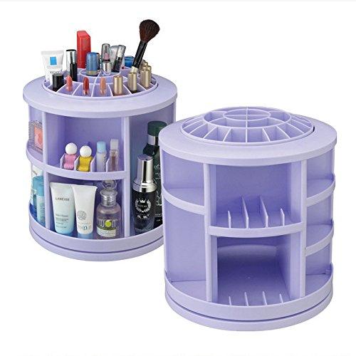 Make Up Cosmetic Jewellery Storage Organiser Box -Rotates 360 Degrees-Purple by Yanoen