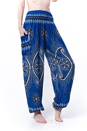 Kraft4Life Women Smocked Waist Baggy Bohemian Boho Hippie Clothes Yoga Harem Bangkok Pants Palazzo Casual Pants 2pockets