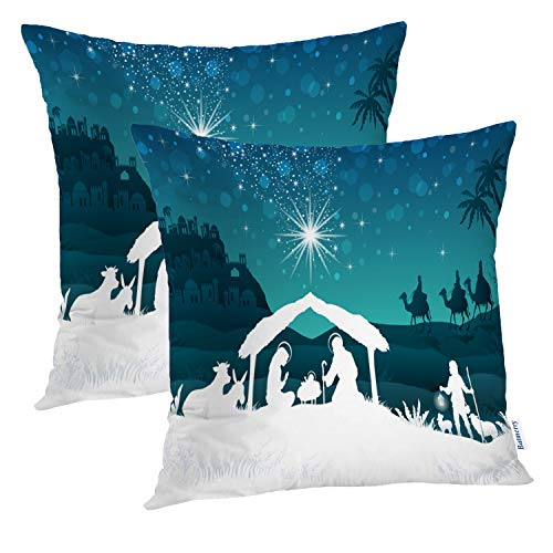 Batmerry Set of 2 Merry Christmas Decorative Pillow Covers 18x18 inch,Nativity Scene Family Oriental Gradient Christmas Star Double Sided Throw Pillow Covers Sofa Cushion Cover (Sets Oriental Sofa)